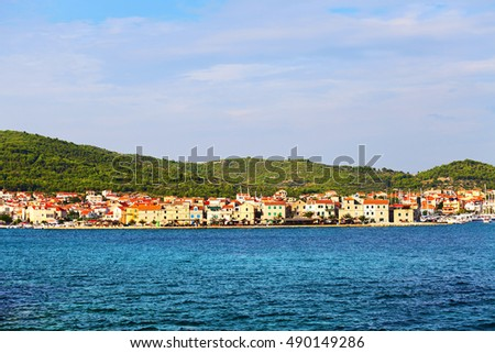 Old town in Tribunj, Croatia. View from the sea