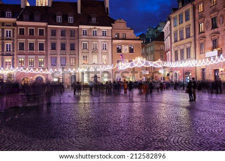 Old Town Market Place during Christmas in Warsaw, Poland. - stock photo
