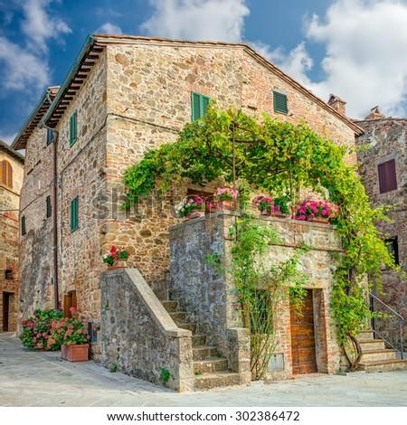 Old town Monticchiello Tuscany Italy - stock photo