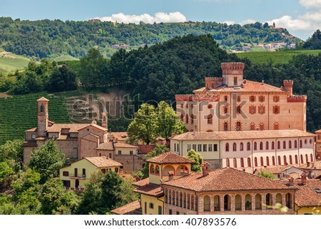 Old town of Barolo among hills in Piedmont, Northern Italy. - stock photo
