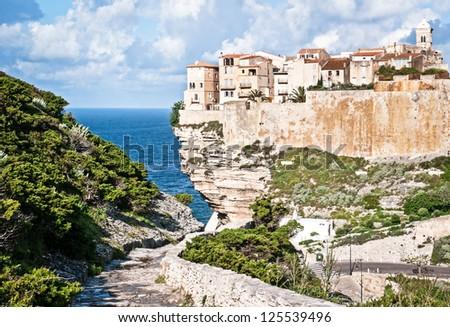 old town of bonifacio - sicily - stock photo
