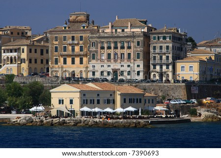 Old town of Corfu Greece - stock photo