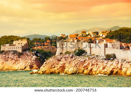 Old town of Dubrovnik, Croatia from the sea at sunset