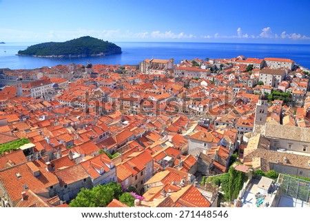 Old town of Dubrovnik on the shores of the Adriatic sea, Croatia - stock photo