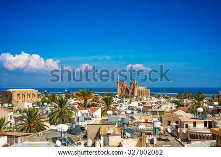 Old town of Famagusta (Gazimagusa), Cyprus. High elivated view. - stock photo