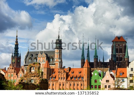 Old Town of Gdansk skyline, Poland. - stock photo