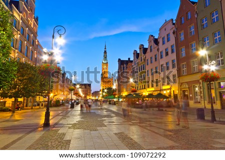 Old town of Gdansk with city hall at night, Poland - stock photo