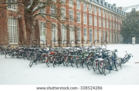 Old town of Leuven, Belgium in winter - stock photo