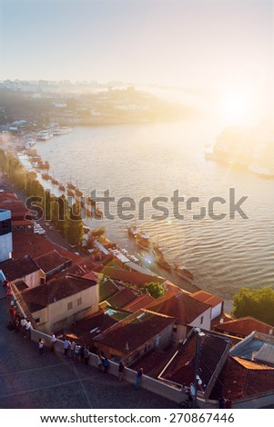 old town of Porto and river Douro with soft light of   sunny sunset, Portugal - stock photo