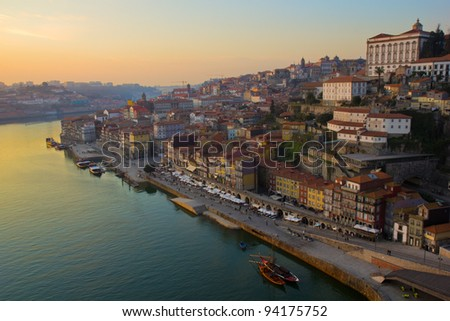 old town of Porto at sunset, Portugal - stock photo
