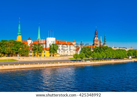 Old Town of Riga and Daugava River, Riga castle, Riga Cathedral, Saint Peters Church. Riga, Latvia - stock photo