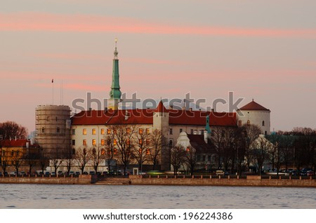 Old Town of Riga (Latvia)  in the evening - stock photo