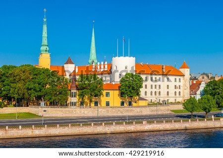 Old Town of Riga, Riga castle and Daugava River in summer Riga, Latvia - stock photo