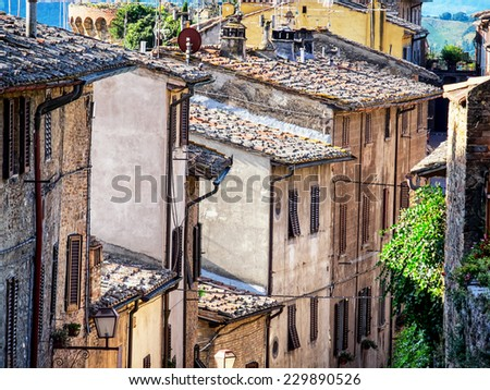 old town of san gimignano - italy - stock photo