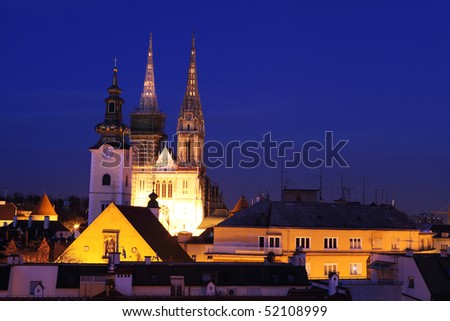 Old town of Zagreb at night - stock photo
