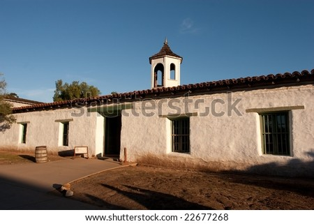 Old Town San Diego State Historic Park, located in San Diego, California, is a state protected historical park in San Diego. - stock photo