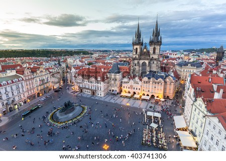 Old Town Square at dusk  Prague, Czech republic  - stock photo