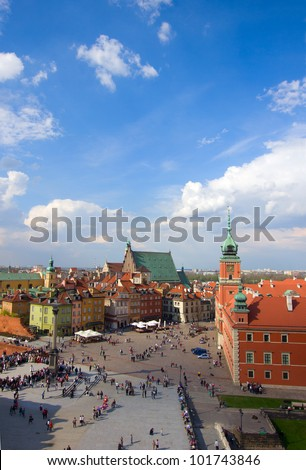 Old town  square from above, Warsaw, Poland - stock photo