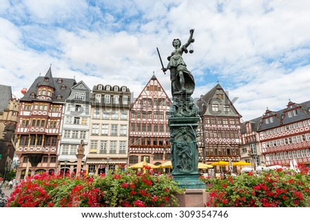 old town square romerberg with Justitia statue in Frankfurt Germany - stock photo