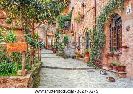 Old town Tuscany Italy - stock photo