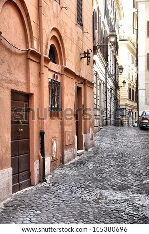 Old town view and Mediterranean architecture in Rome, Italy - stock photo