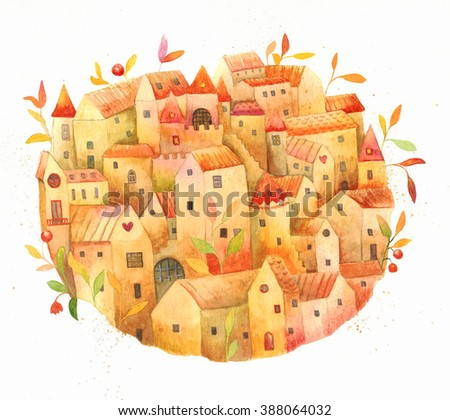 Old town. Watercolor illustration. Rustic houses and plants, composition