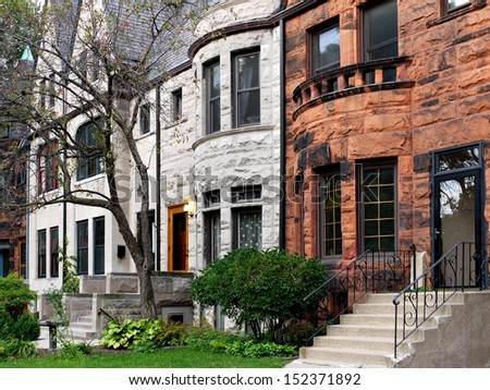 old townhouses - stock photo
