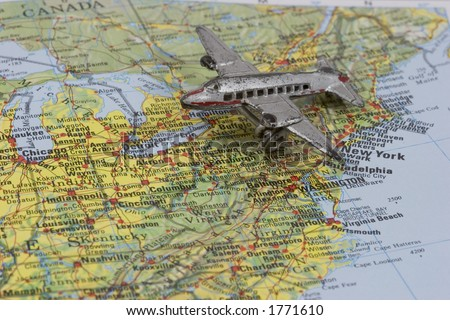 Old Toy Airplane On Map Of Northeastern Usa Shallow Depth Of Field From Use Of