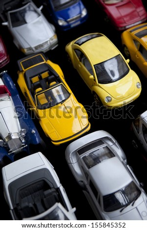 Old toy cars in a garage