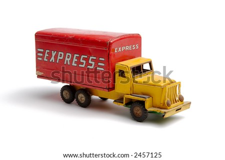 Old toy metal express truck facing right - stock photo