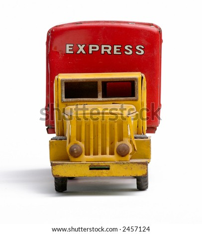 Old toy metal express truck head-on - stock photo