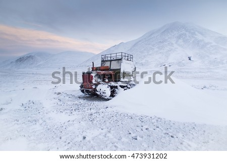 Old tractor in arctic