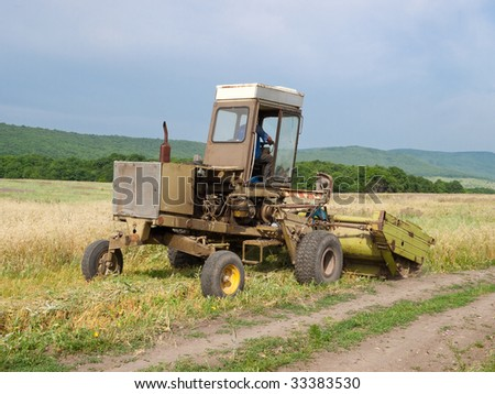 Old tractor on the field.