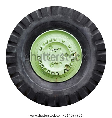 Old Tractor tires isolated on white background - stock photo