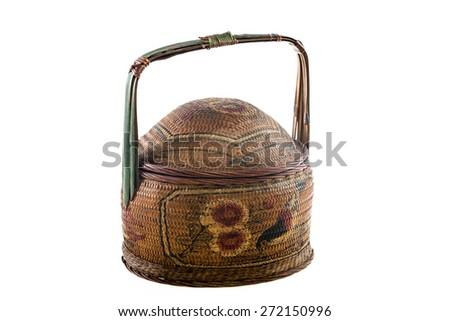 Old Traditional Chinese Designed Bamboo Basket isolated on white - stock photo