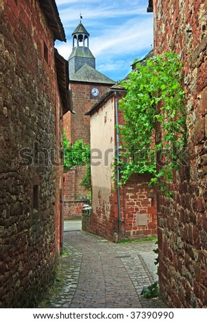 Old traditional French house. Collonges La Rouge - stock photo