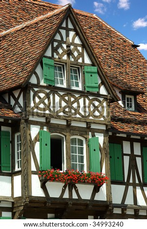 Old traditional French house. El'zas, France - stock photo