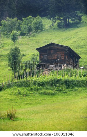 Old traditional house in Ayder Plateau with an elevation of 1350m along the Black Sea in Turkey.