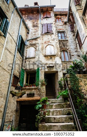 Old Traditional House in the City of Rovinj, Croatia - stock photo