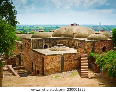 Old traditional houses near the entrance to Fatehpur Sikri complex, Uttar Pradesh, India - stock photo
