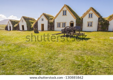 Old traditional Icelandic farm with mossy roofs -  Glaumber. - stock photo
