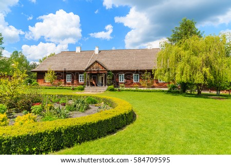 Old Traditional Manor House Beautiful Garden Stock Photo