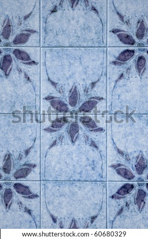 Old traditional portuguese dacade tiles background. - stock photo