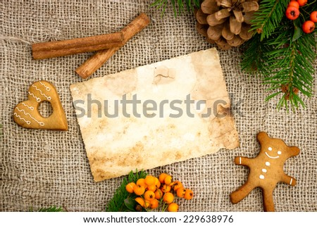 old traditional recipes for Christmas cakes with free text space - stock photo