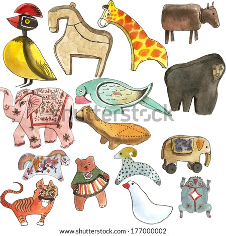 Old traditional toys watercolor illustration - stock photo