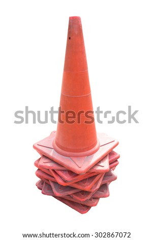 old traffic cones on white background. - stock photo