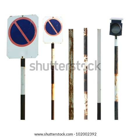 Old traffic sign and pole collections - stock photo
