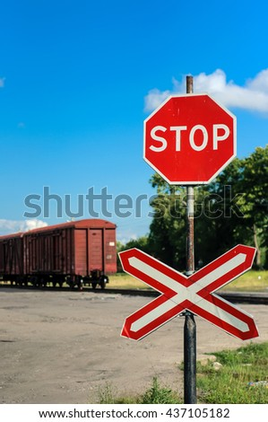 Old traffic stop sign - stock photo