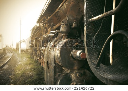 Old train in the mist. Vintage effect process - stock photo
