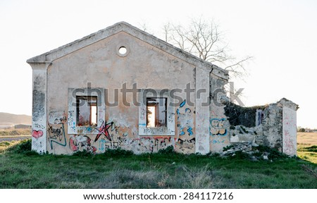 Old train station abandoned in the countryside - stock photo